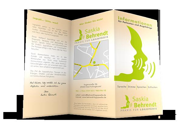 Grafikdesign Beispiel Flyer für Logopädie Praxis Saskia Behrendt