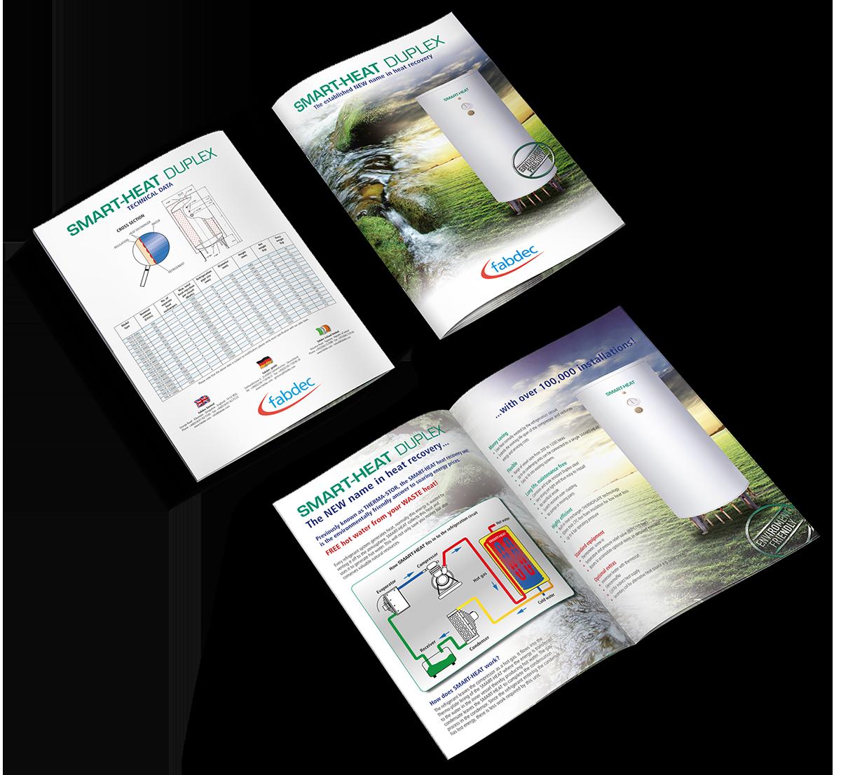 """Grafikdesign Beispiel Produktbroschüre """"Smartheat"""" der Firma Fabdec Ltd."""