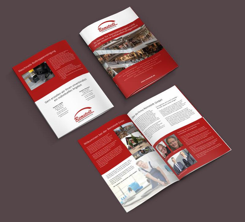 Grafikdesign Beispiel Imagebroschüre Firma Remstedt GmbH