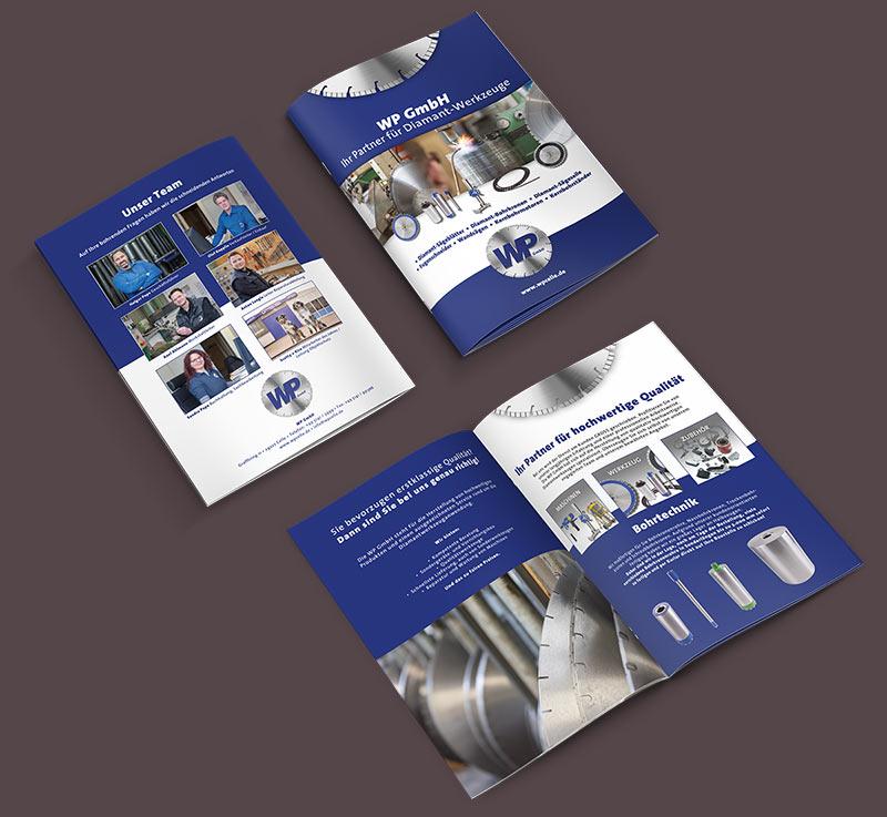 Grafikdesign Beispiel Imagebroschüre Firma WP GmbH