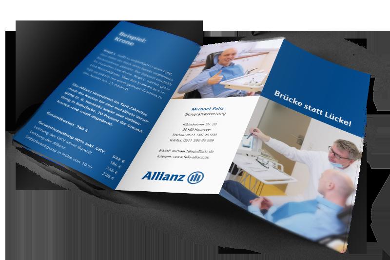 Grafikdesign Beispiel Flyer für Allianz Michael Felis