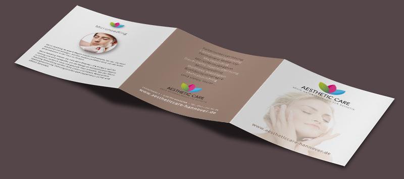 Grafikdesign Beispiel Flyer für Aestheticcare Hannover