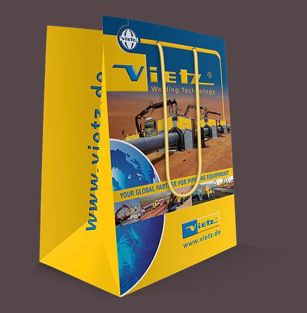 Grafikdesign Beispiel Tragetasche für Messe Firma Vietz GmbH